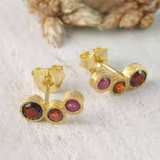 garnet stud earrings gold garnet january birthstone ruby stud earrings by embers