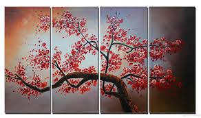 cherry blossom canvas art flower painting home decor 100 handmade