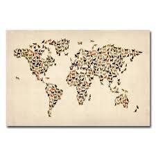 Wall Art World Map by Amazon Com Trademark Fine Art World Map Of Cats By Michael