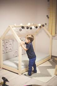 wooden bed house scandinavian design for kids with mattress base
