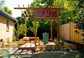 small backyard vegetable home garden with diy wood raised bed and