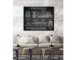 Chalkboard Home Decor Chalkboard Art Vintage Locmotive Blueprint Canvas Painitng Giclee