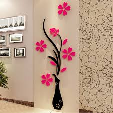 online buy wholesale floral wall decals from china floral wall diy vase flower tree wall sticker crystal arcylic 3d red floral wall decal removable living room