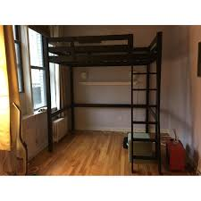 wooden loft bed for full size with desk and ladder decofurnish