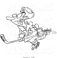 vector of a cartoon hockey player skating coloring page outline