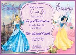 Princess Birthday Invitation Cards Snow White And Cinderella Double Birthday Party Invitation Twins