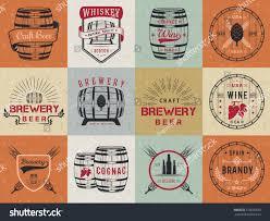 set wooden casks alcohol drinks emblems stock vector 376636639