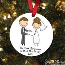 our first christmas ornament personalized couples gift wedding