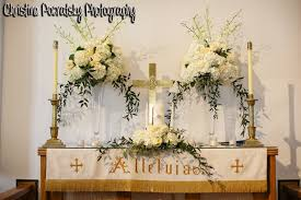 wedding altar flowers simple church altar decorated in white roses peonies for wedding