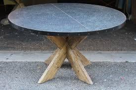 Zinc Table Top Hayward Zinc Top Round Dining Table With X Base U2013 Mortise U0026 Tenon