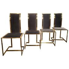 Dining Chair Set Of 4 Set Of 4 Romeo Rega Italian Brass And Velvet Dining Chairs At 1stdibs