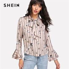 blouses with bows at neck shein striped and flower print neck bow blouse 2018