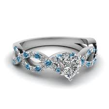 topaz engagement ring heart shaped infinity diamond ring with blue topaz in 14k white