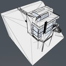 Modern House Drawing by Douglas Modern House By Benz Gal 3docean