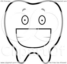cartoon clipart of a black and white grinning tooth vector