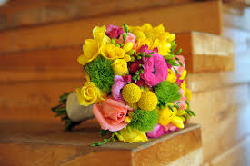 florist knoxville tn bright summer bridal bouquet pink and yellow bright green