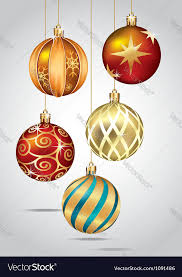 ornaments hanging on gold thread vector image
