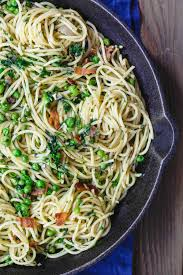 light olive oil pasta sauce simple pasta with peas and pancetta the mediterranean dish super