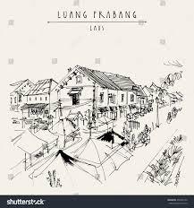 market place luang prabang laos southeast stock vector 496442152