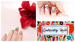 ethnic embroidery nails summer edition youtube