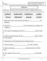 second grade prefixes worksheets