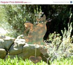 cat and pumpking steel lawn ornament by theironphoenix on etsy