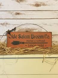 primitive halloween olde salem broom company primitive sign