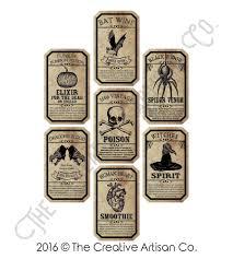 halloween wine labels set of 7 unique handmade funny u0026 spooky vintage halloween day of