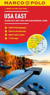 Map Of Usa East Coast by Usa East Marco Polo Map Marco Polo Maps Amazon Co Uk Marco