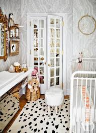 Iron Changing Table Nursery With Mirrored Bi Fold Closet Doors Contemporary Nursery