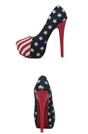 american flag stars and stripes women high heel shoes red