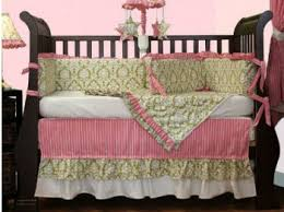 Pink And Green Crib Bedding Pink And Green Damask Print Baby Crib Bedding Set For An