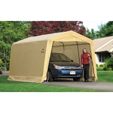 Garage With Carport Shelterlogic Autoshelter 10 X 15 X 8 Ft Instant Garage Walmart Com