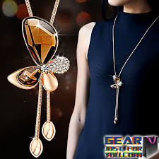 fine chain pendant necklace images Elegant bowknot pattern women 39 s butterfly crystal long chain png