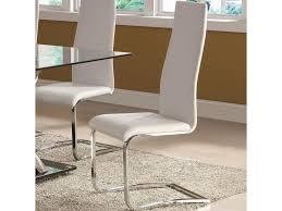 Leather Dining Chair Modern Coaster Modern Dining White Faux Leather Dining Chair With Chrome