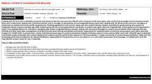 literacy coordinator cover letter u0026 resume