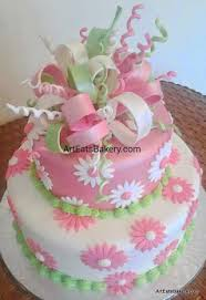 unique birthday cakes girl 27s pink 2c white and green flowers and edible ribbons and bows unique fondant birthday cake design jpg