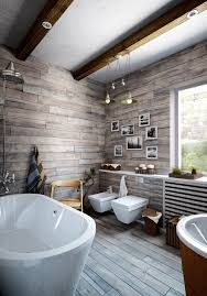 modern bathroom design ideas using a wooden accent as the main