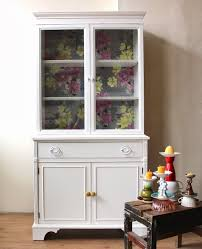 poppyseed creative living white china cabinet with floral interior