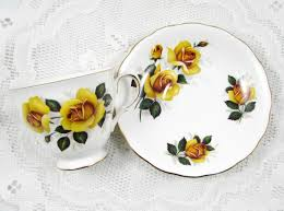 4 vintage tea cups and saucers with yellow roses bone china