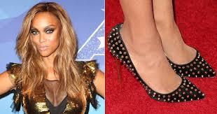 celebrities wearing spiked designer shoes