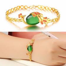 luxury bracelet gold chains images Luxury 18k gold plated green agate stone peacock bracelet for jpg