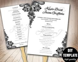 black and white wedding programs gold wedding program fan template diy instant