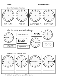 ideas of half past quarter to quarter past worksheets for your