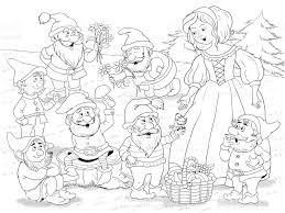 snow white dwarfs fairy tale illustration