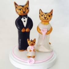 custom cat family wedding cake toppers