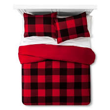 red buffalo check flannel duvet u0026 sham set full queen