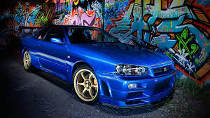 nissan blue car nissan skyline r34 wallpaper