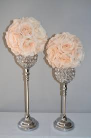 Wedding Centerpiece Stands by Set Of 2 Silver Bling Rhinestone Flower Ball Stands Or Candle