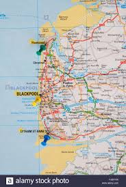 Maps Of England road map of the north coast of england with map pins showing the